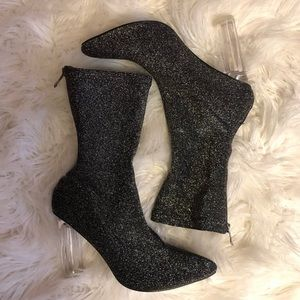EGO OFFICIAL Pointy Toe Shimmer Sock Booties